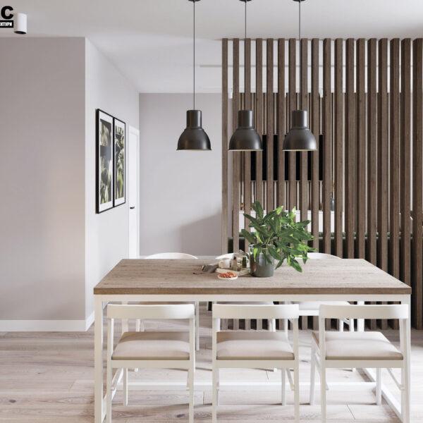 Дизайн-проект интерьера квартиры в ЖК «Синергия Сити», кухня-гостиная вид на обеденную зону