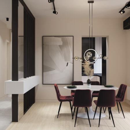 Дизайн-проект квартиры по ул. Семинарской, гостиная вид на зону отдыха