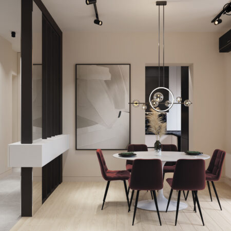 Дизайн-проект квартири по вул. Семінарській, вітальня вид на зону їдальні