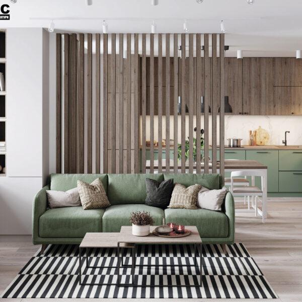 Дизайн-проект интерьера квартиры в ЖК «Синергия Сити», кухня-гостиная вид на диванчик