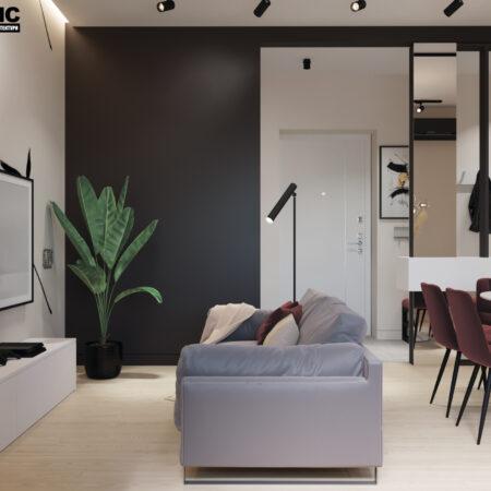 Дизайн-проект квартиры по ул. Семинарской, гостиная вид на центр комнаты