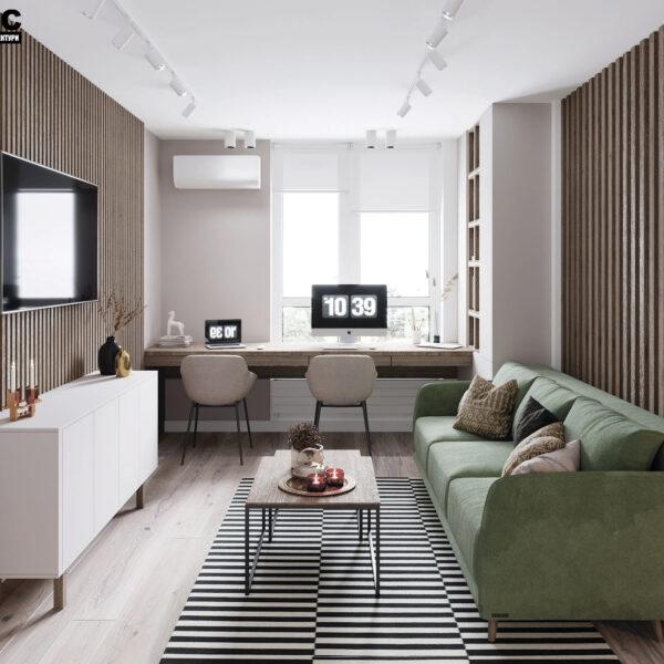 Дизайн-проект интерьера квартиры в ЖК «Синергия Сити», кухня-гостиная вид на окно