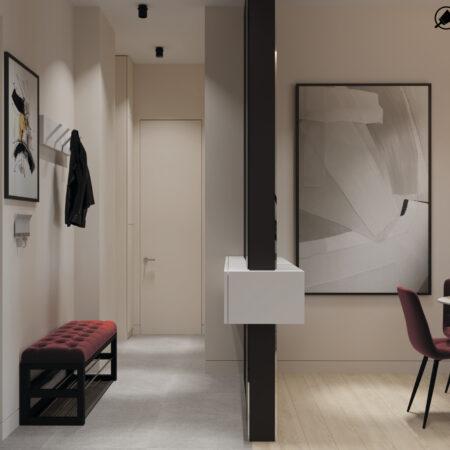 Дизайн-проект квартири по вул. Семінарській, вітальня вид на віхід у квартиру