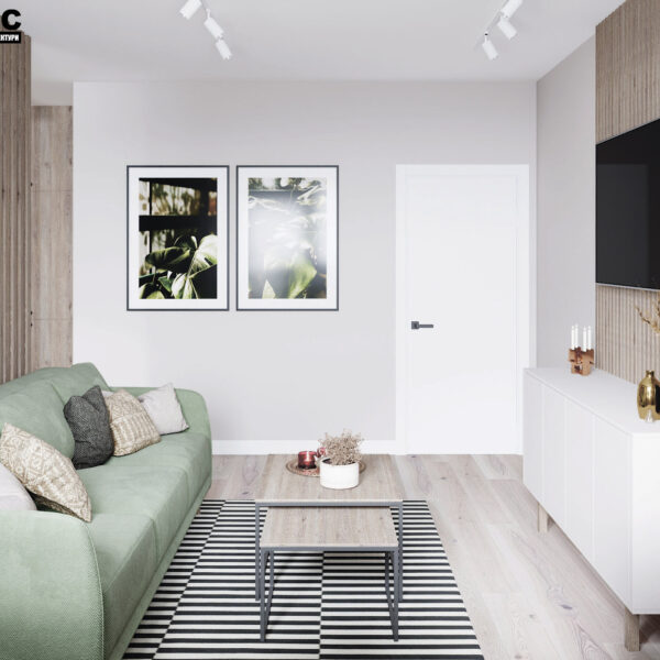 Дизайн-проект интерьера квартиры в ЖК «Синергия Сити, кухня-гостиная вид на зону отдыха