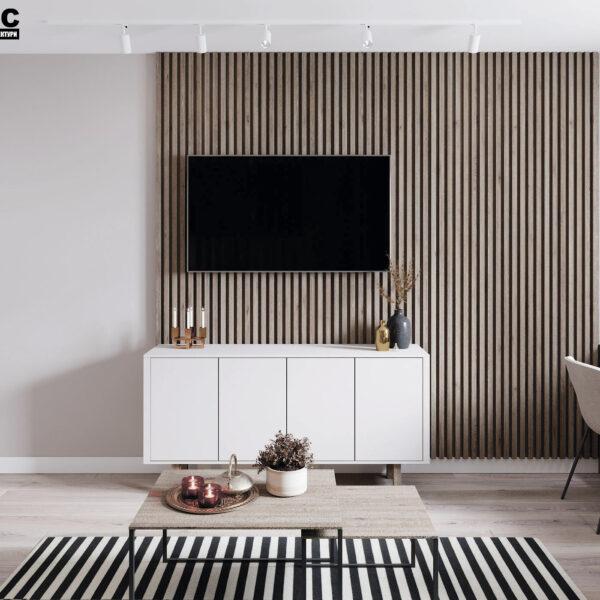 Дизайн-проект интерьера квартиры в ЖК «Синергия Сити», кухня-гостиная вид на тумбу под TV