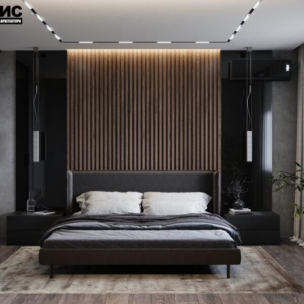 Дизайн интерьера двухкомнатной квартиры в ЖК «Архитекторов», спальня вид спереди