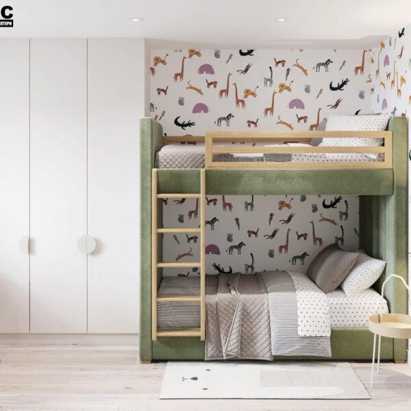 Дизайн-проект інтер'єра квартири у ЖК «Сінергія Сіті», дитяча вид на ліжко