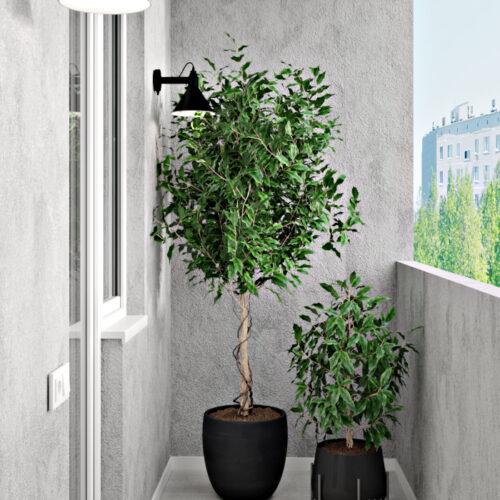 Дизайн-проект інтер'єру квартири «ЖК Левада 2», балкон вид з лівої сторони