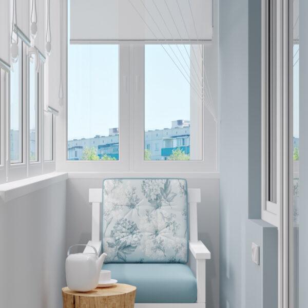 Дизайн-проект интерьера квартиры в ЖК «МЕРИДИАН», ул. Гвардеийцив Широнинцев / ул. дружбы Народов, балкон вид справа