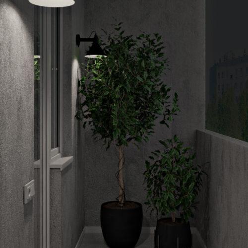 Дизайн-проект інтер'єру квартири «ЖК Левада 2», балкон з лівої сторони зі штучним освітленням