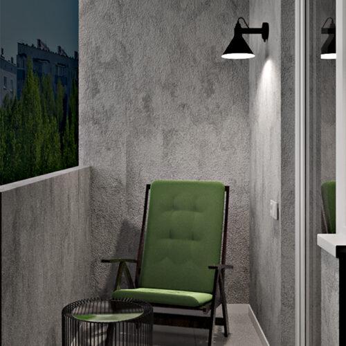 Дизайн-проект інтер'єру квартири «ЖК Левада 2», балкон з правої сторони зі штучним освітленням