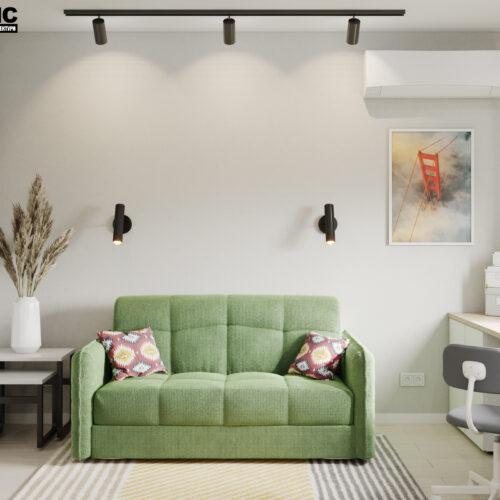 Дизайн-проект интерьера квартиры «ЖК Левада 2», детская вид на зону отдыха