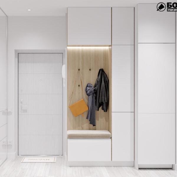 Дизайн-проект интерьера квартиры в ЖК «МЕРИДИАН», ул. Гвардеийцив Широнинцев / ул. дружбы Народов, коридор вид спереди