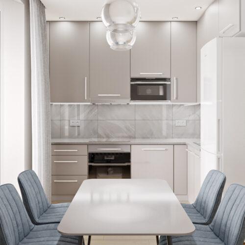Дизайн-проект інтер'єру квартири «ЖК Левада 2», кухня з видом на стіл та стільці