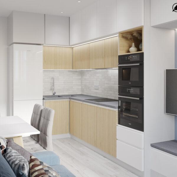 Дизайн-проект интерьера квартиры в ЖК «МЕРИДИАН», ул. Гвардеийцив Широнинцев / ул. дружбы Народов, кухня вид под углом справа