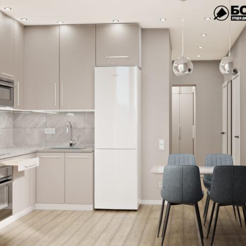 Дизайн-проект інтер'єру квартири «ЖК Левада 2», кухня з видом на робочу зону