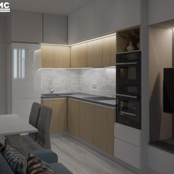 Дизайн-проект интерьера квартиры в ЖК «МЕРИДИАН», ул. Гвардеийцив Широнинцев / ул. дружбы Народов, кухня вид под углом справа с искусственным светом