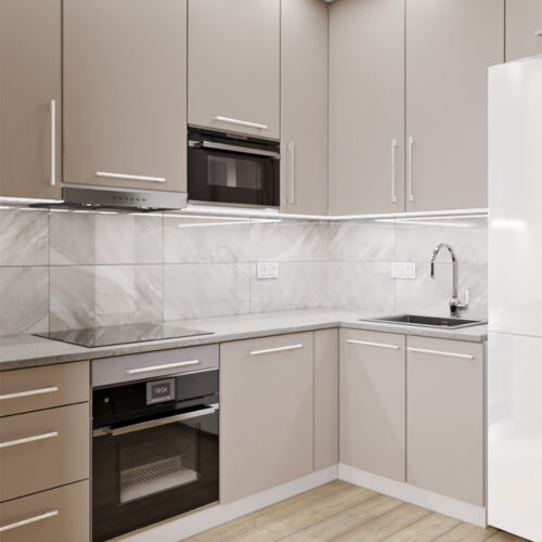 Дизайн-проект интерьера квартиры «ЖК Левада 2», кухня с видом под углом на рабочую зону