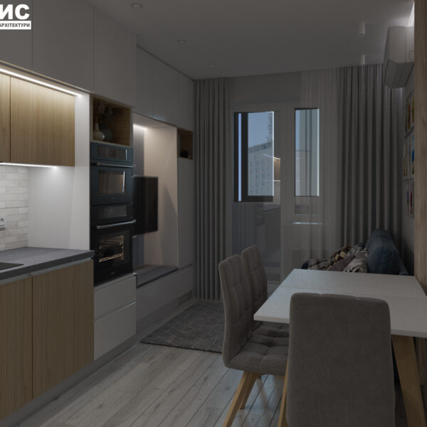 Дизайн-проект интерьера квартиры в ЖК «МЕРИДИАН», ул. Гвардеийцив Широнинцев / ул. дружбы Народов, кухня вид на окно с искусственным светом