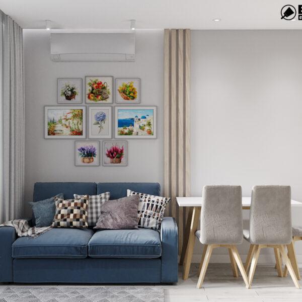 Дизайн-проект интерьера квартиры в ЖК «МЕРИДИАН», ул. Гвардеийцив Широнинцев / ул. дружбы Народов, кухня с видом на диван