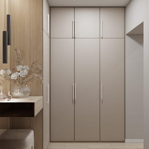 Дизайн-проект интерьера квартиры «ЖК Левада 2», прихожая с видом на шкаф