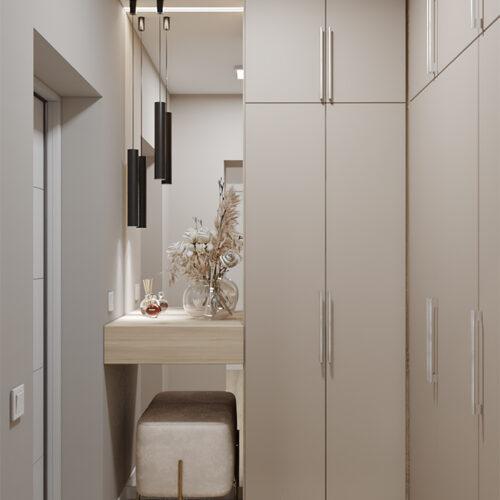 Дизайн-проект интерьера квартиры «ЖК Левада 2», прихожая с видом на открытый шкаф