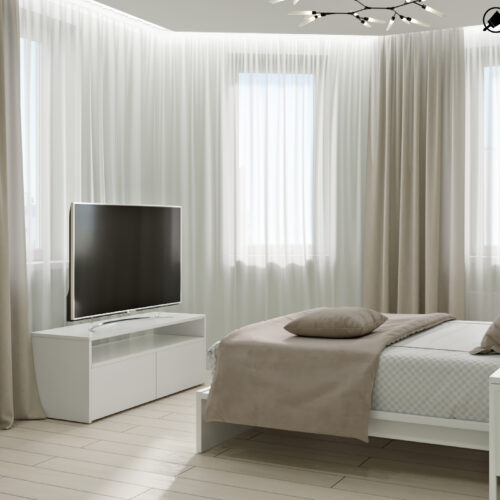 Дизайн-проект интерьера квартиры «ЖК Левада 2», спальня вид на окно