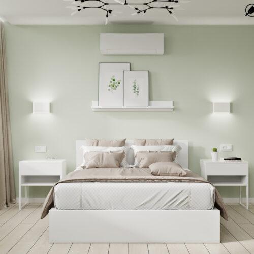 Дизайн-проект интерьера квартиры «ЖК Левада 2», спальня вид на кровать по центру