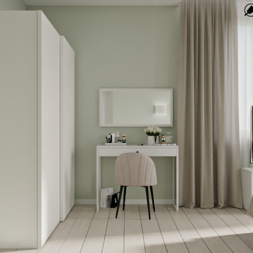 Дизайн-проект интерьера квартиры «ЖК Левада 2», спальня вид на туалетный столик