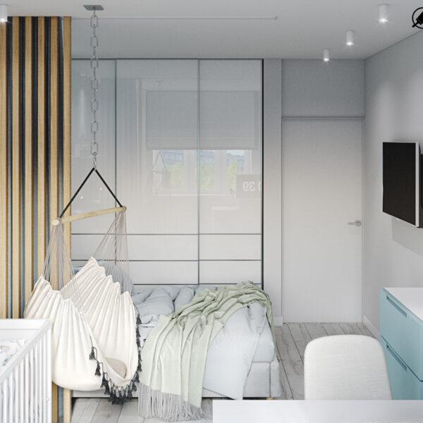 Дизайн-проект интерьера квартиры в ЖК «МЕРИДИАН», ул. Гвардеийцив Широнинцев / ул. дружбы Народов, спальня вид на шкаф
