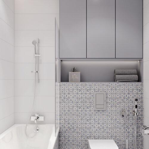 Дизайн-проект інтер'єру квартири «ЖК Левада 2», санвузол з видом праворуч