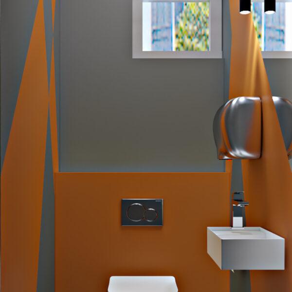 Дизайн-проект фастфуду, санвузол вид на вікно