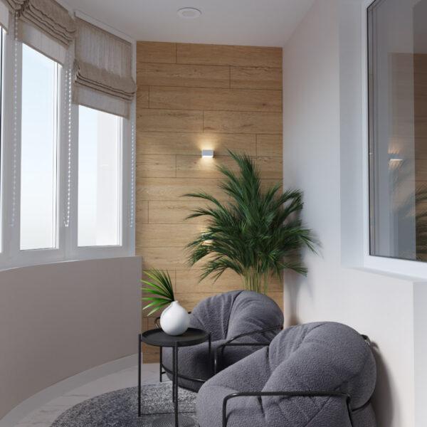 Дизайн интерьера квартиры ЖК «Инфинити», кабинет вид на кресла