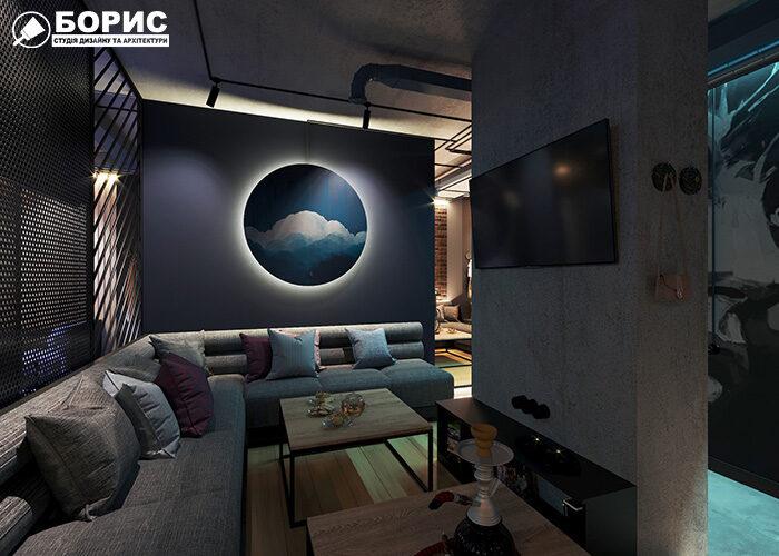 Ремонт бара и кальянной с видом на диваны
