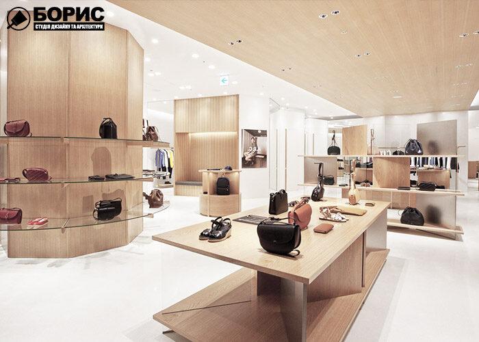 Ремонт бутика и шоурума, дизайн бутика с деревянными полками