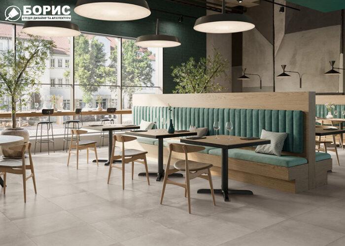Ремонт кафе и ресторана со светлым дизайном и большими окнами