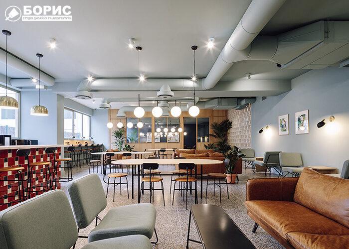 Ремонт кафе и ресторана с о светлым дизайном