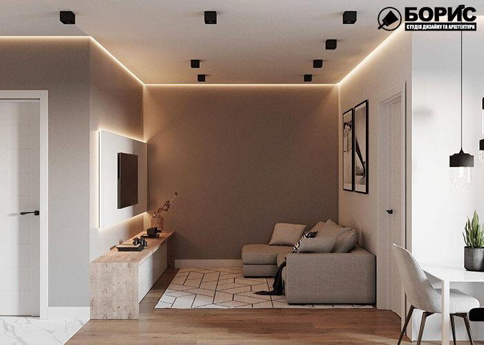 Ремонт чотирикімнатної квартири, вытальня з меблями