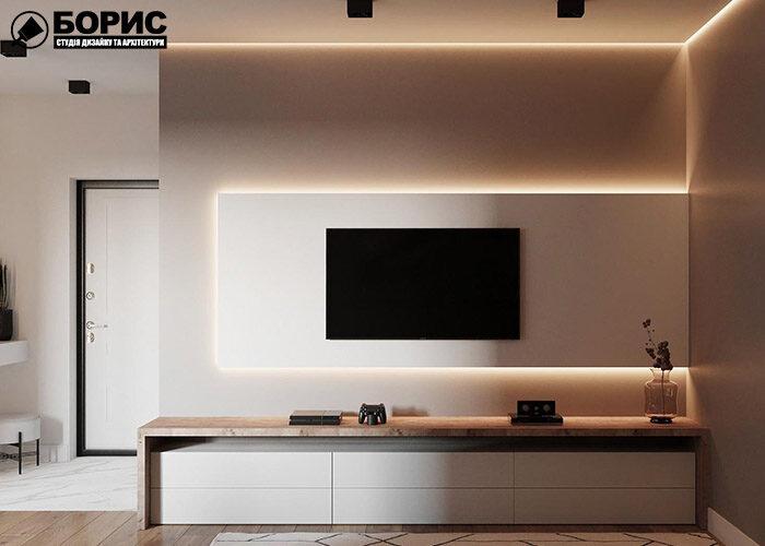 Ремонт чотирикімнатної квартири, передпокій з телевізором