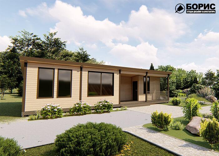 Сучасний дачний будинок виготовлений з дерева.