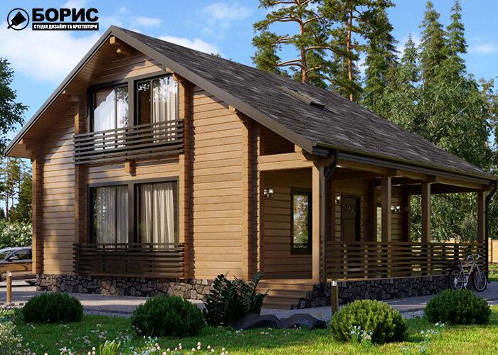 Деревянный дом из квадратного бруса с верандой и колонами.