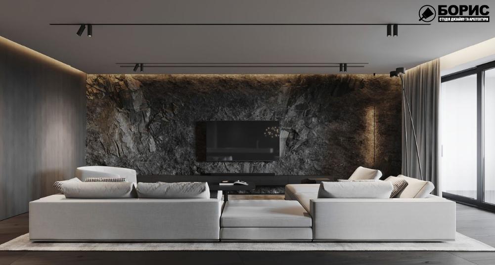 Дизайн інтер'єру, вітальня з великими диванами