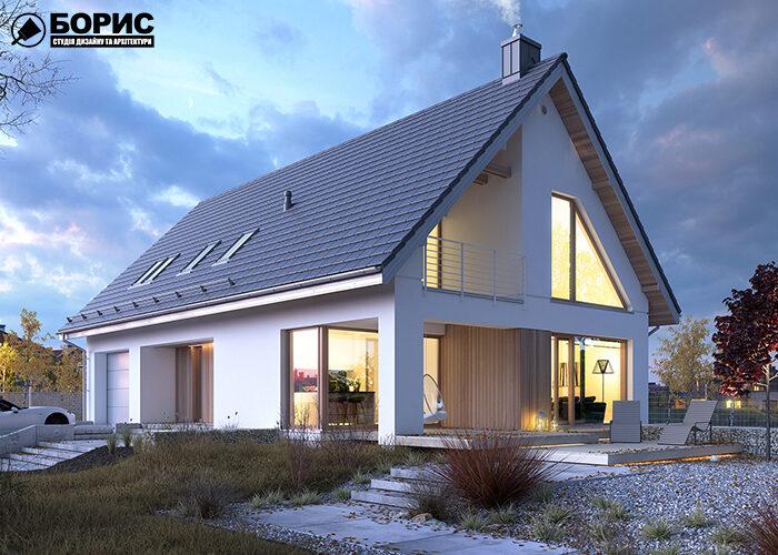 Проект великого будинку з газобетону з великими вікнами.