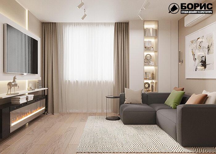 Ремонт двокімнатної квартири вітальня з видом на вікно