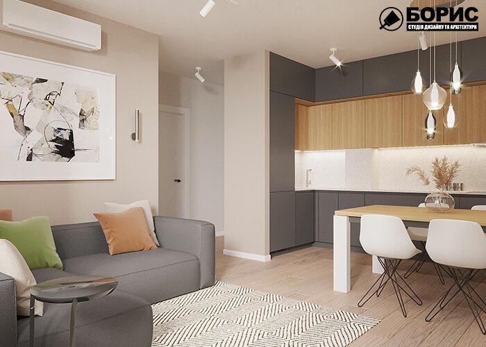 Ремонт двокімнатної квартири вітальня вид під кутом
