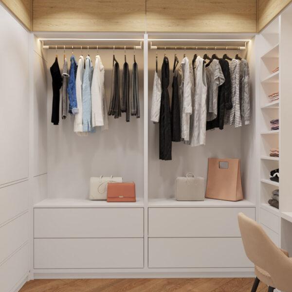 Дизайн інтер'єру квартири ЖК «Інфініті», гардеробна вид на відчинену шафу