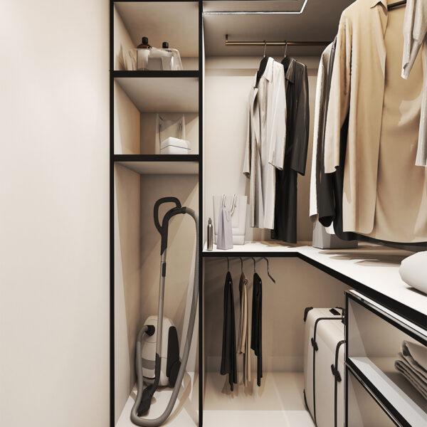 Дизайн интерьера квартиры ЖК «Птичка», гардероб с правой стороны с открытыми дверцами