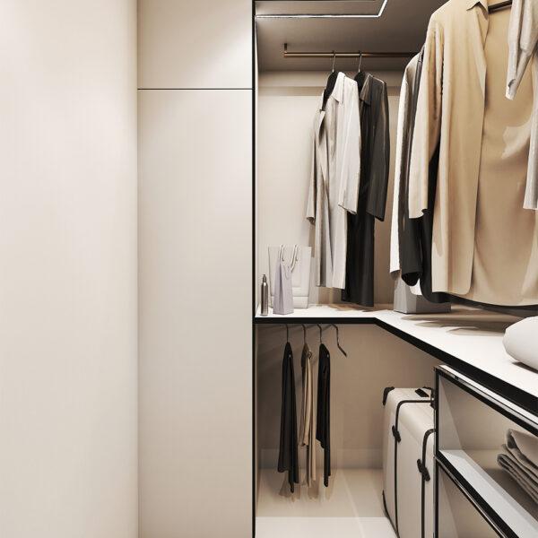 Дизайн интерьера квартиры ЖК «Птичка», гардероб с правой стороны