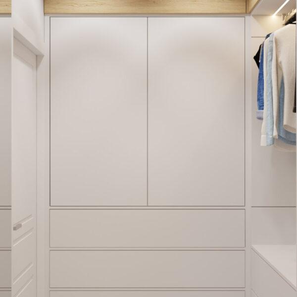 Дизайн интерьера квартиры ЖК «Инфинити», гардероб вид по правую сторону от входа