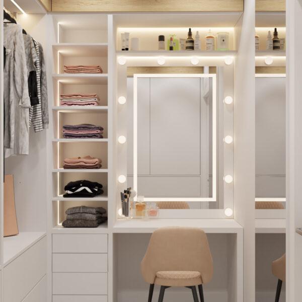 Дизайн інтер'єру квартири ЖК «Інфініті», гардеробна вид на дзеркало
